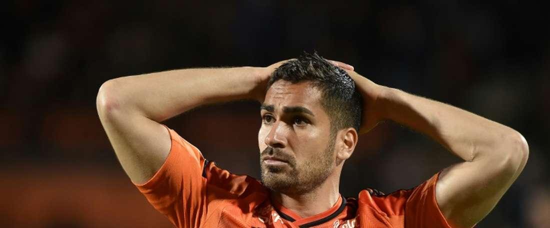 Le défenseur Wesley Lautoa sous le maillot de Lorient. AFP