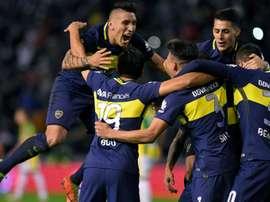 Les joueurs de Boca Juniors vainqueurs d'Aldosivi, à Mar del Plata, le 17 juin 2017. AFP