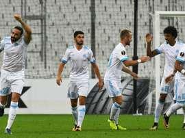 Adil Rami inscrit l'unique but de la rencontre face à Konyaspor en Europa League au Vélodrome. AFP