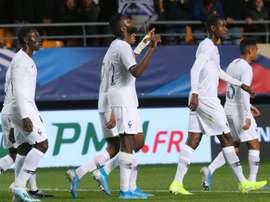 Odsonne Edouard (c) buteur lors de la victoire 3-1 sur la République tchèque. AFP
