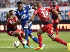 L'attaquant de Lyon Alexandre Lacazette face à Dijon, au stade Gaston-Gerard, le 27 août 2016. AFP