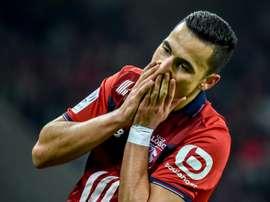 L'attaquant de Lille Anwar El Ghazi lors du match contre Bordeaux à Pierre-Mauroy. AFP