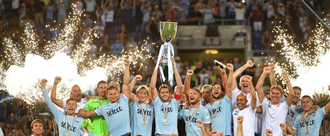La Lazio décroche la Supercoupe dItalie devant la Juventus. AFP