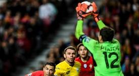 A Ucrânia conseguiu travar Portugal no regresso de Cristiano Ronaldo. AFP