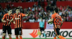 Les joueurs du Shakhtar Donetsk, le 5 mai 2016, à Séville
