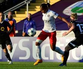 L'attaquante du PSG Maire-Laure Delie face à Francfort en finale de la Ligue des champions. AFP