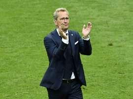 L'entraîneur suédois Erik Hamren lors dun match de la phase de groupes. AFP