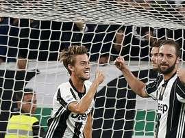 La joie de Daniele Rugani après avoir marqué, pendant le match de la Juventus. AFP