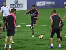 Séance d'entraînement pour les Parisiens, lors de leur mini-stage au Qatar. AFP