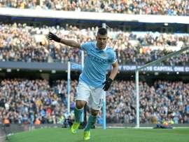 Sergio Agüero logró el gol del empate y fue el mejor jugador del Manchester City ante el WBA. AFP
