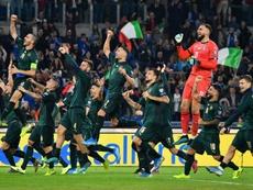 La joie des joueurs italiens, qualifiés pour l'Euro-2020 après leur victoire face à la Grèce. AFP