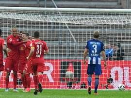 Les joueurs de Leipzig fêtent un but contre le Hertha Berlin, le 6 mai 2017 à Berlin. AFP
