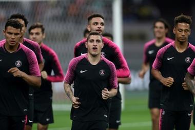 Les joueurs du Paris SG au Khalifa International Stadium. AFP