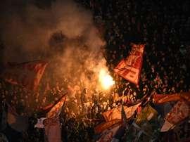 Les supporters de l'Etoile Rouge de Belgrade lors du match retour face au PSG. AFP