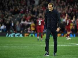 L'entraîneur du Paris-SG, Thomas Tuchel, dépité après la défaite du club. AFP