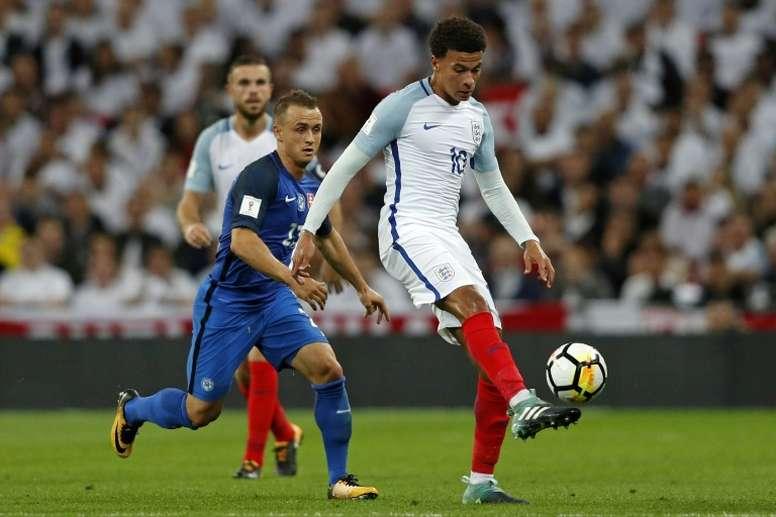 Le milieu anglais Dele Allicontre la Slovaquie à Wembley. AFP