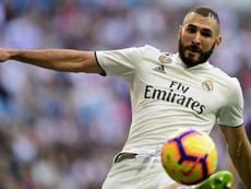 La star du Real Madrid Karim Benzema, lors dun match de Liga. AFP