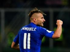 L'attaquant italien Ciro Immobile, auteur du 2e but face à l'Albanie. AFP