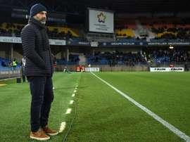 Pascal Dupraz, alors entraîneur de Toulouse, lors du match de Ligue 1 à Montpellier. AFP