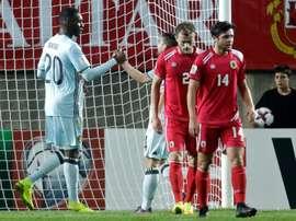 Christian Benteke auteur du but le plus rapide de la Belgique contre Gibraltar en qualifs pour le Mondial-2018 à Faro, le 10 octobre 2016