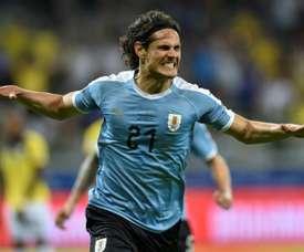 L'attaquant de l'Uruguay Edinson Cavani après avoir inscrit un but contre l'Equateur. AFP