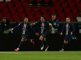 Neymar, deslumbrado com o 2 a 0 contra o Borussia. AFP