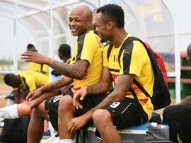 Les frères Ayew, André et Jordan, avant une séance d'entraînement des Black Stars du Ghana. AFP