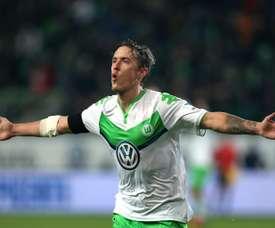 Max Kruse, buteur avec le VFL Wolfsburg face au Werder Brême en Bundesliga. AFP