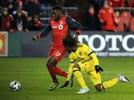 L'attaquant de Toronto Jozy Altidore inscrit un but contre Columbus. AFP