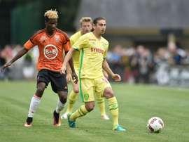 Alejandro Bedoya avec Nantes contre Lorient, en match amical. AFP