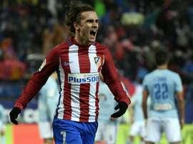 L'attaquant de l'Atletico Madrid Antoine Griezmann fête son but contrre le Celta Vigo. AFP