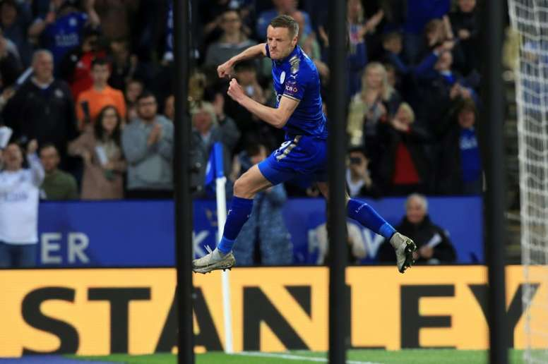 Jamie Vardy fête un but lors de la réception d'Arsenal. AFP