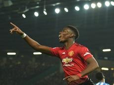 Paul Pogba auteur dun doublé en Premier League contre Huddersfield. AFP