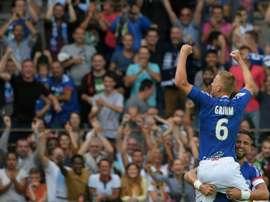 Le milieu Jérémy Grimm auteur du 3e but de Strasbourg contre Lille à La Meinau. AFP