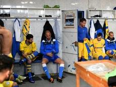 Les joueurs de Canelas dans leur vestiaire, le 8 janvier 2017 à Vila Nova Gaia. AFP