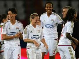 Les joueuses de l'Olympique lyonnais, lors d'un match de Ligue des champions à Paris. AFP