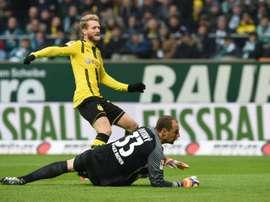 Le milieu offensif de Dortmund Andre Schürrle ouvre le score contre le Werder Brême. AFP