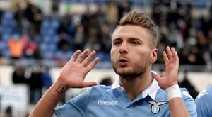 L'attaquant de la Lazio Ciro Immobile après un but contre l'Atalanta. AFP