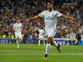 Le milieu du Real Madrid Marco Asensio auteur d'un doublé contre Valence à Santiago Bernabéu. AFP