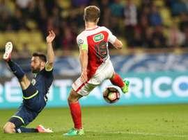 Valère Germain, double buteur pour Monaco lors de la victoire devant Lille en Coupe de France. AFP