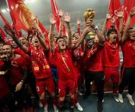 Les joueurs du Shanghai SIPG fêtent leur victoire. AFP
