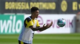 Sancho habló de su futuro como referente para los jóvenes del Borussia. AFP