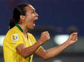 La joie de l'attaquante du Brésil Marta Vieira Da Silva après son but face à la Chine. AFP