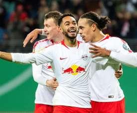 Les joueurs de Leipzig fêtent un but contre Wolfsburg. AFP