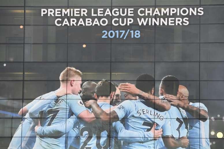 Poster à l'Etihad Stadium de Manchester. AFP