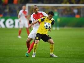 Shinji Kagawa contre Monaco, au lendemain de l'attaque du bus de son club à Dortmund. AFP