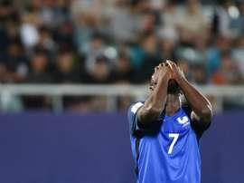 La déception de l'attaquant Jean-Kévin Augustin, éliminé avec les Bleuets. AFP