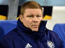 Hein Vanhaezebrouck, sur le banc d'Anderlecht. AFP