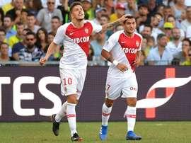 Rony Lopes (d) et Stevan Jovetic buteurs lors de la victoire de Monaco. AFP