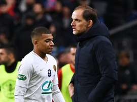 Mbappé, infeliz com Tuchel. AFP
